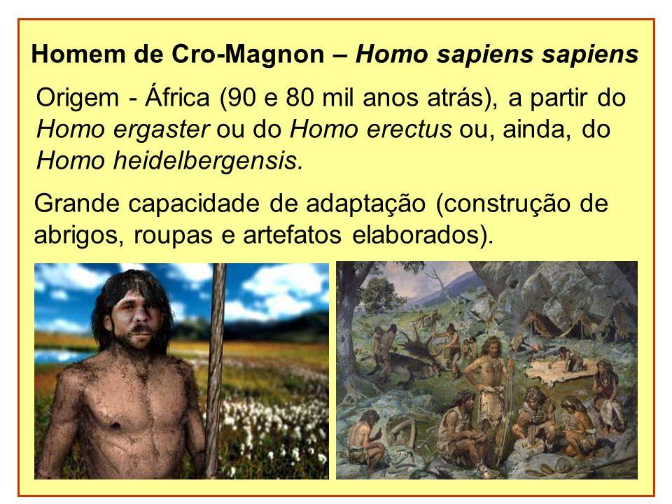 Homem de Cro-Magnon – Homo sapiens sapiens Origem - África (90 e 80 mil anos atrás), a partir do Homo ergaster ou do Homo erectus ou, ainda, do Homo h