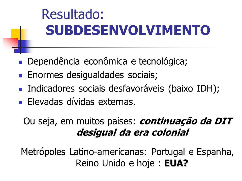 Resultado: SUBDESENVOLVIMENTO Dependência econômica e tecnológica; Enormes desigualdades sociais; Indicadores sociais desfavoráveis (baixo IDH); Eleva