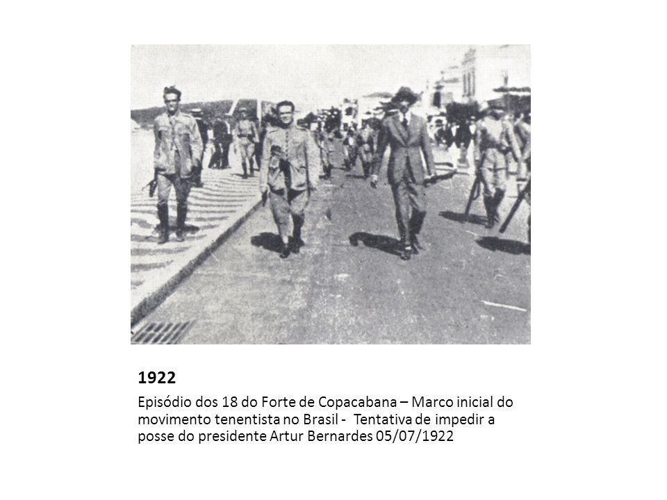 1922 Episódio dos 18 do Forte de Copacabana – Marco inicial do movimento tenentista no Brasil - Tentativa de impedir a posse do presidente Artur Berna
