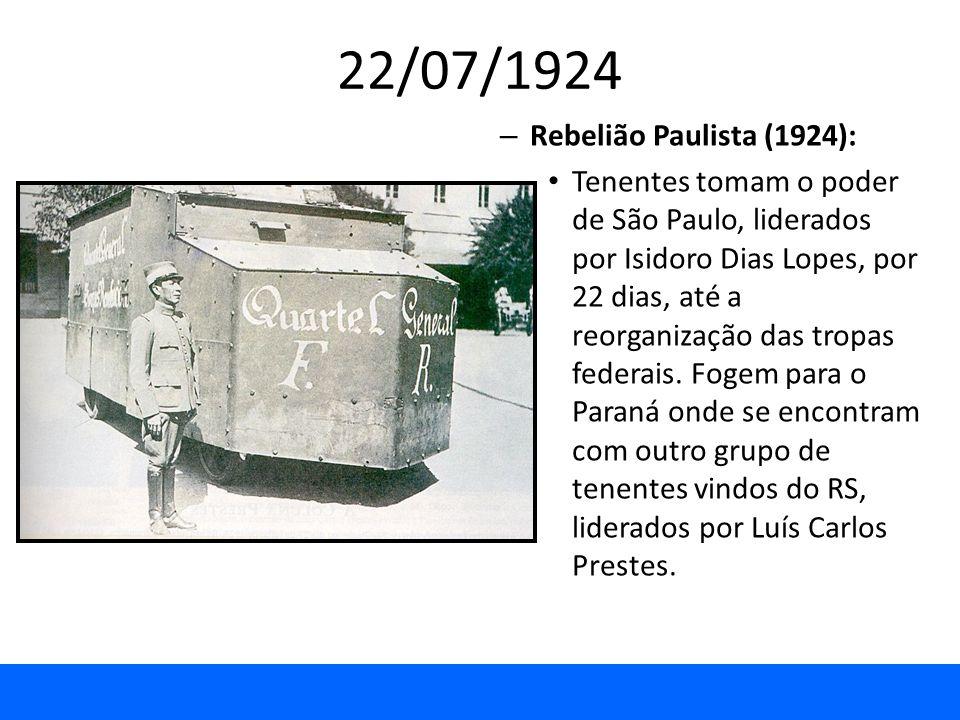 22/07/1924 – Rebelião Paulista (1924): Tenentes tomam o poder de São Paulo, liderados por Isidoro Dias Lopes, por 22 dias, até a reorganização das tro