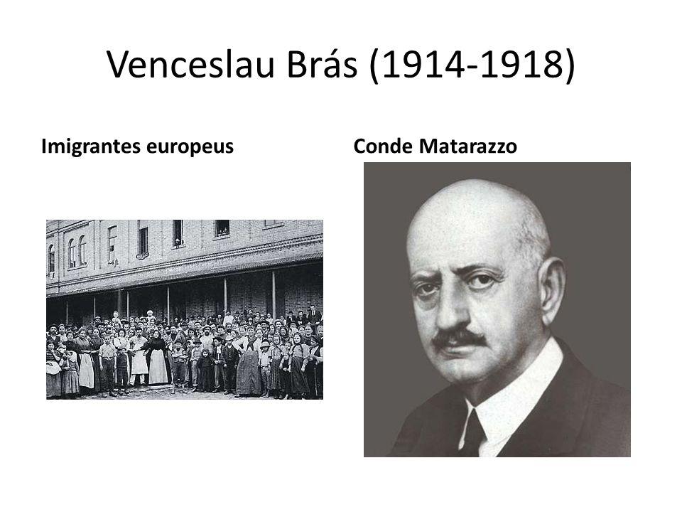 Venceslau Brás (1914-1918) Imigrantes europeusConde Matarazzo