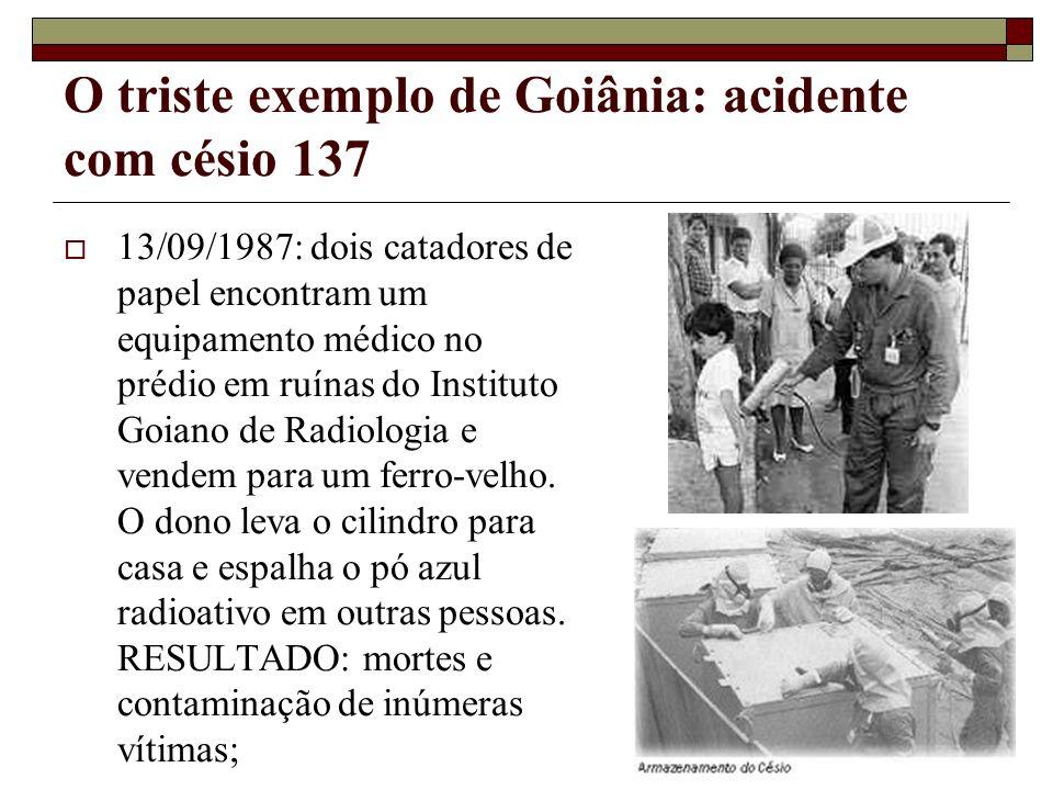 O triste exemplo de Goiânia: acidente com césio 137 13/09/1987: dois catadores de papel encontram um equipamento médico no prédio em ruínas do Institu