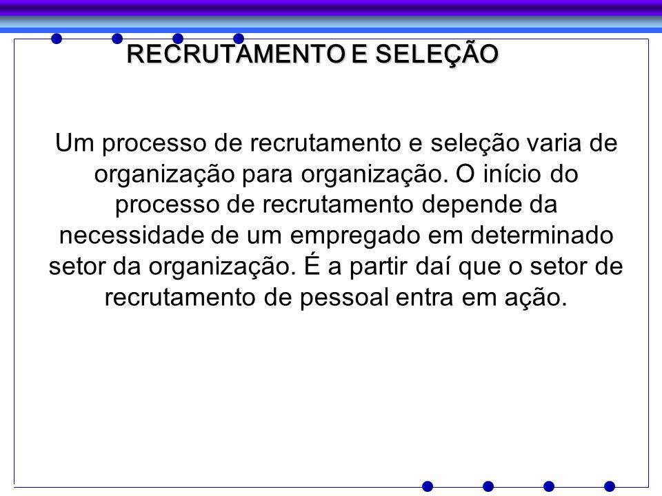 Um processo de recrutamento e seleção varia de organização para organização. O início do processo de recrutamento depende da necessidade de um emprega