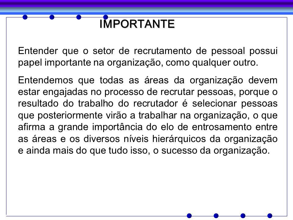 IMPORTANTE Entender que o setor de recrutamento de pessoal possui papel importante na organização, como qualquer outro. Entendemos que todas as áreas