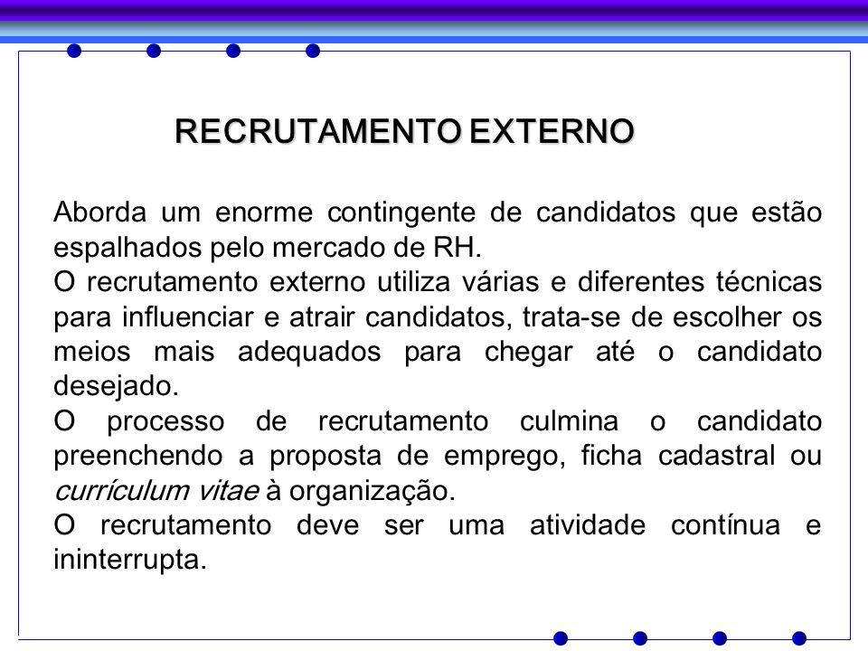 RECRUTAMENTO EXTERNO RECRUTAMENTO EXTERNO Aborda um enorme contingente de candidatos que estão espalhados pelo mercado de RH. O recrutamento externo u