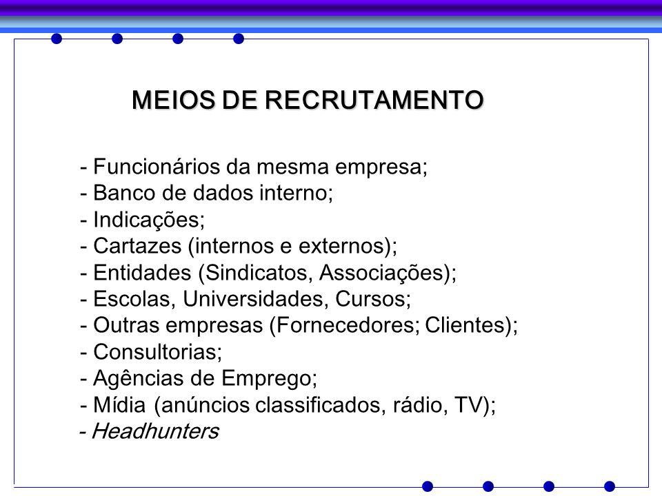 MEIOS DE RECRUTAMENTO - Funcionários da mesma empresa; - Banco de dados interno; - Indicações; - Cartazes (internos e externos); - Entidades (Sindicat
