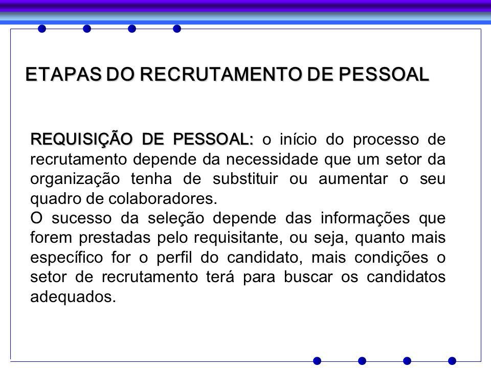 ETAPAS DO RECRUTAMENTO DE PESSOAL REQUISIÇÃO DE PESSOAL: REQUISIÇÃO DE PESSOAL: o início do processo de recrutamento depende da necessidade que um set