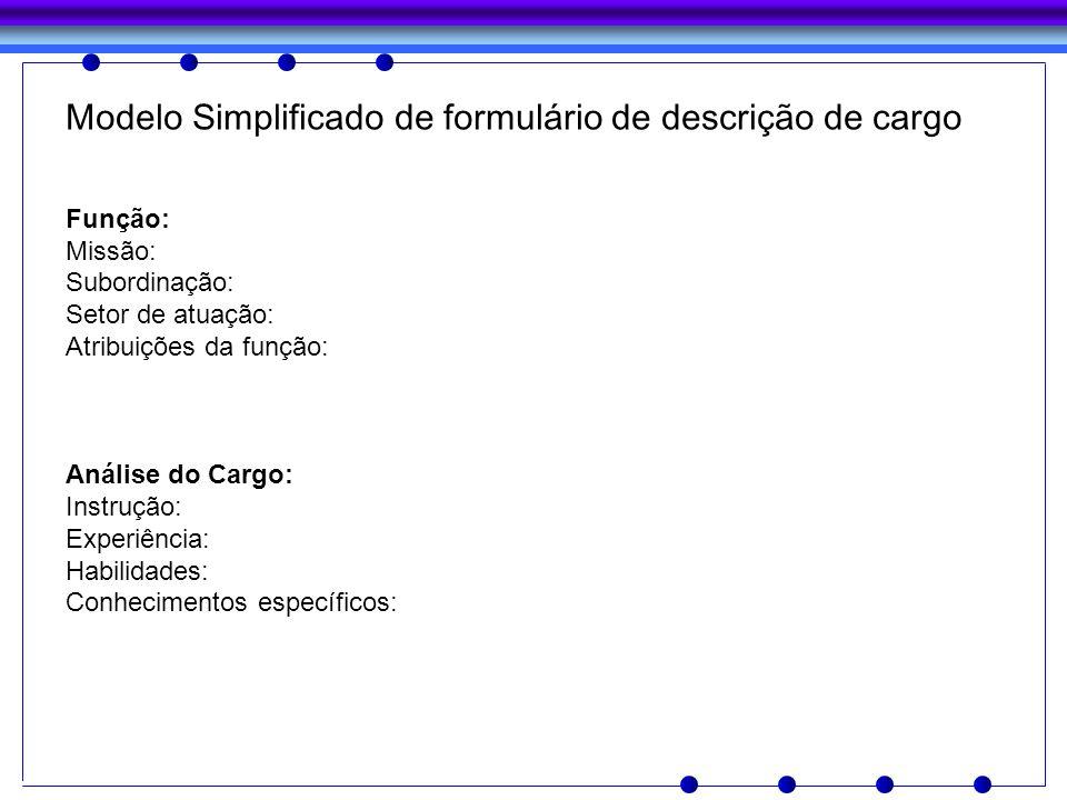 Modelo Simplificado de formulário de descrição de cargo Função: Missão: Subordinação: Setor de atuação: Atribuições da função: Análise do Cargo: Instr
