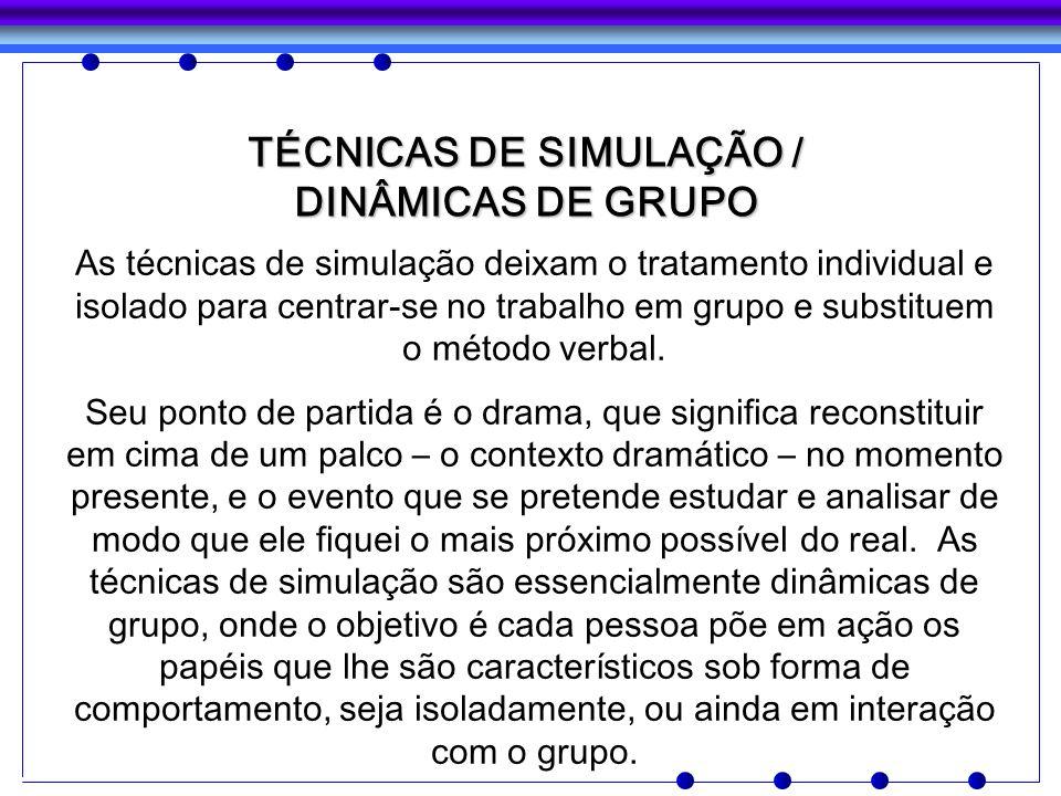 TÉCNICAS DE SIMULAÇÃO / DINÂMICAS DE GRUPO As técnicas de simulação deixam o tratamento individual e isolado para centrar-se no trabalho em grupo e su