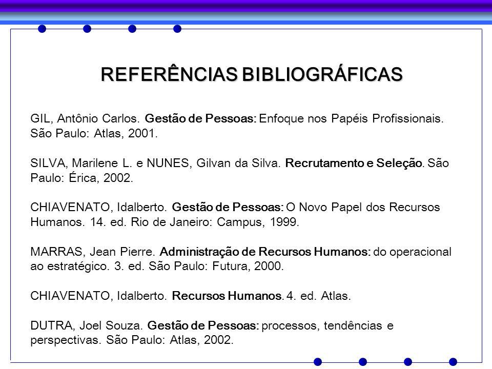 REFERÊNCIAS BIBLIOGRÁFICAS GIL, Antônio Carlos. Gestão de Pessoas: Enfoque nos Papéis Profissionais. São Paulo: Atlas, 2001. SILVA, Marilene L. e NUNE