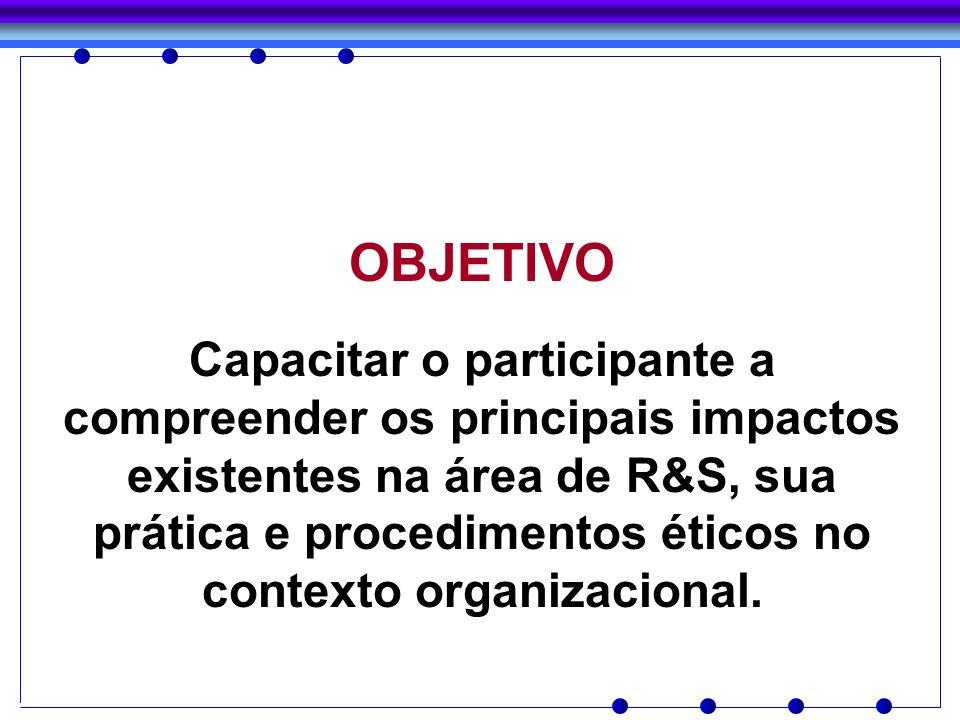OBJETIVO Capacitar o participante a compreender os principais impactos existentes na área de R&S, sua prática e procedimentos éticos no contexto organ