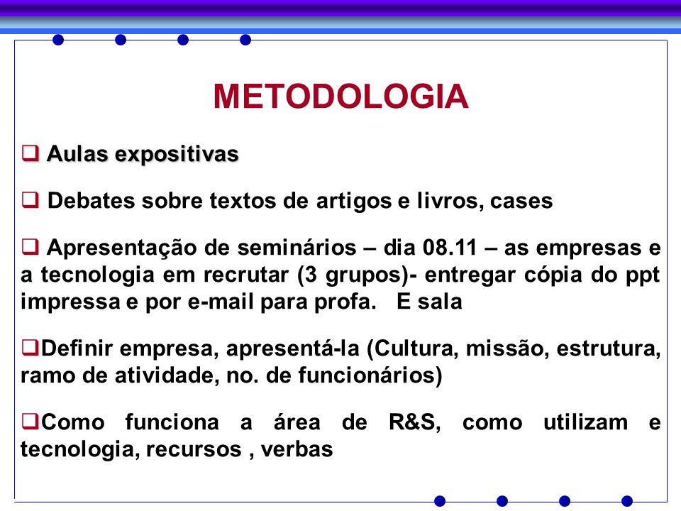 METODOLOGIA Aulas expositivas Aulas expositivas Debates sobre textos de artigos e livros, cases Apresentação de seminários – dia 08.11 – as empresas e