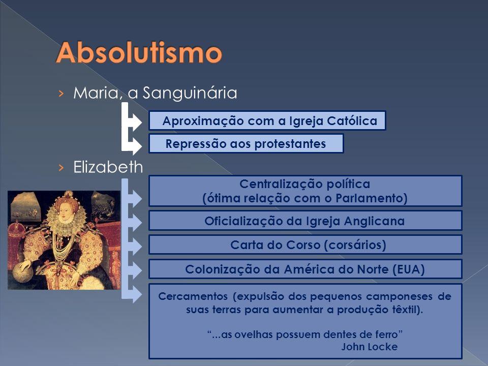 Maria, a Sanguinária Elizabeth Aproximação com a Igreja Católica Repressão aos protestantes Centralização política (ótima relação com o Parlamento) Of