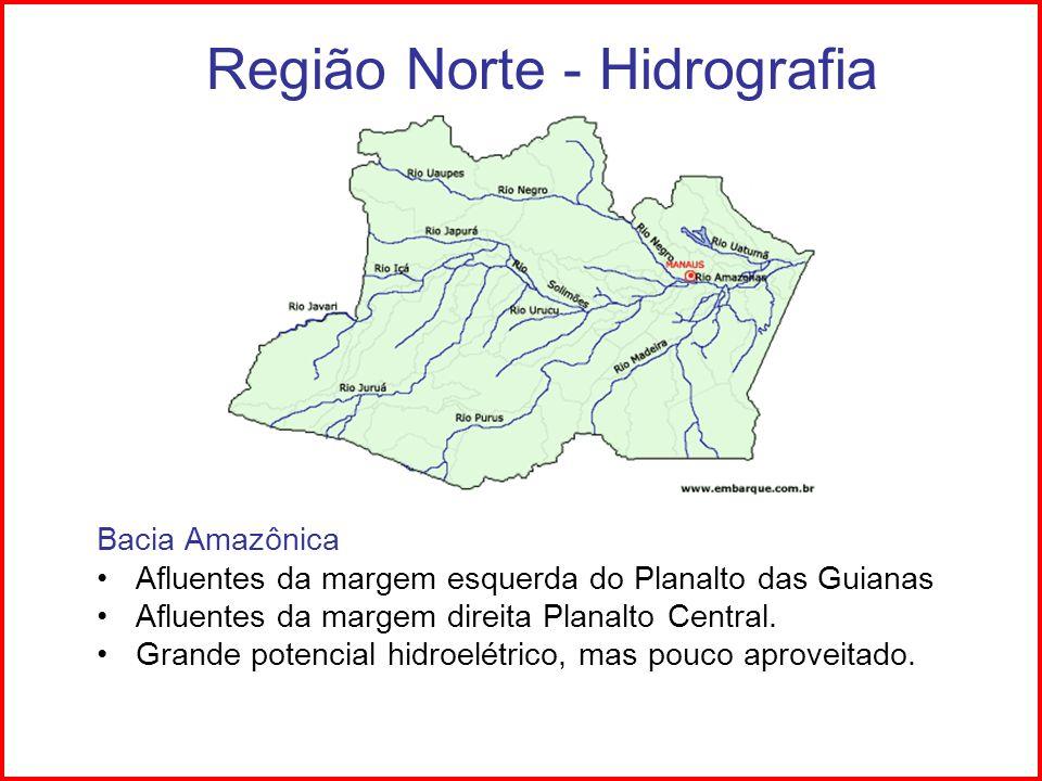 Região Norte - Hidrografia Bacia Amazônica Furos: rios que unem rios entre si ou a lagos.