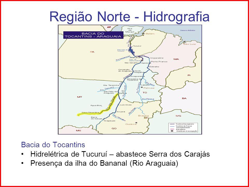 Região Norte - Vegetação Floresta equatorial, latifoliada, higrófita.