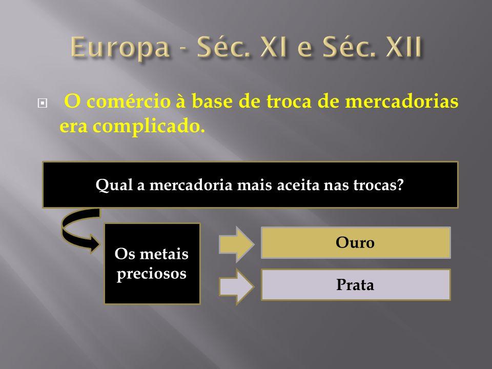 O comércio à base de troca de mercadorias era complicado. Qual a mercadoria mais aceita nas trocas? Os metais preciosos Ouro Prata