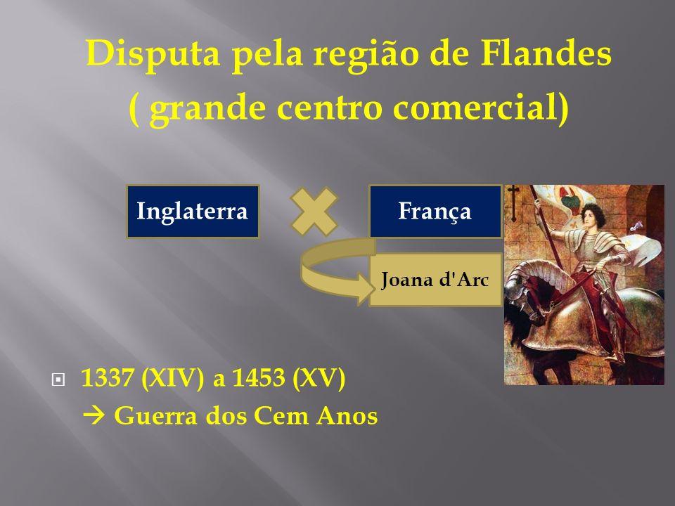 Disputa pela região de Flandes ( grande centro comercial) 1337 (XIV) a 1453 (XV) Guerra dos Cem Anos FrançaInglaterra Joana d'Arc
