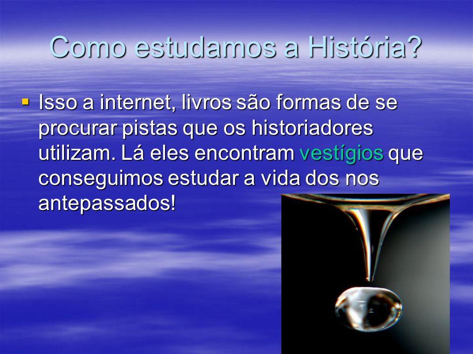 Como estudamos a História? Isso a internet, livros são formas de se procurar pistas que os historiadores utilizam. Lá eles encontram vestígios que con