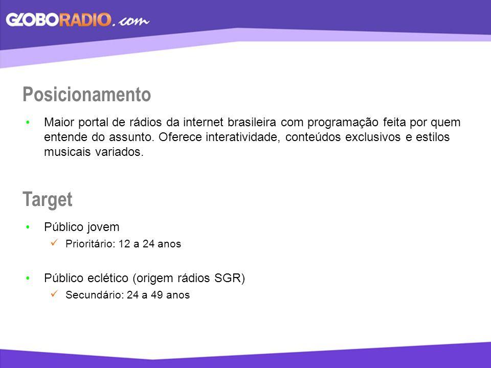 Posicionamento Maior portal de rádios da internet brasileira com programação feita por quem entende do assunto. Oferece interatividade, conteúdos excl