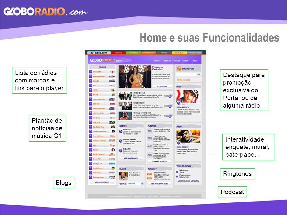 Home e suas Funcionalidades Lista de rádios com marcas e link para o player Blogs Plantão de notícias de música G1 Destaque para promoção exclusiva do