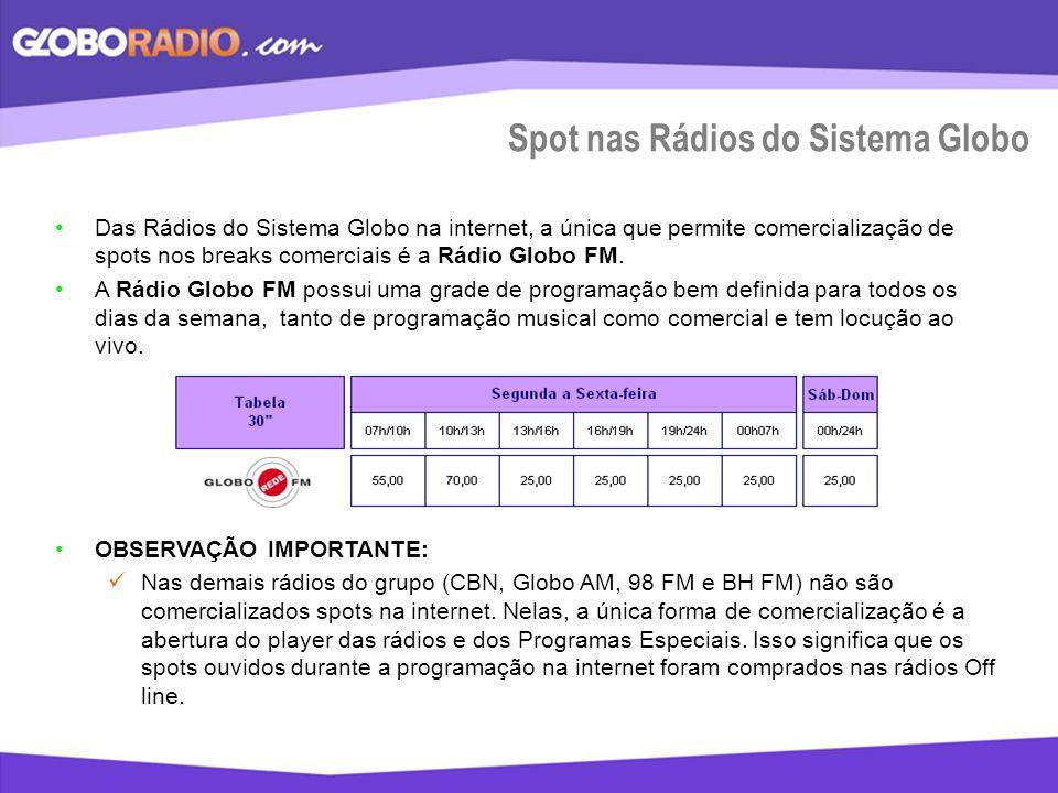 Spot nas Rádios do Sistema Globo Das Rádios do Sistema Globo na internet, a única que permite comercialização de spots nos breaks comerciais é a Rádio