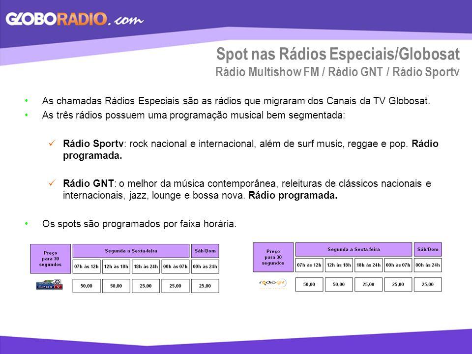 Spot nas Rádios Especiais/Globosat Rádio Multishow FM / Rádio GNT / Rádio Sportv As chamadas Rádios Especiais são as rádios que migraram dos Canais da