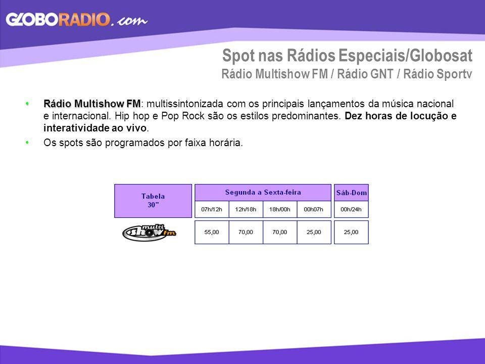 Spot nas Rádios Especiais/Globosat Rádio Multishow FM / Rádio GNT / Rádio Sportv Rádio Multishow FMRádio Multishow FM: multissintonizada com os princi