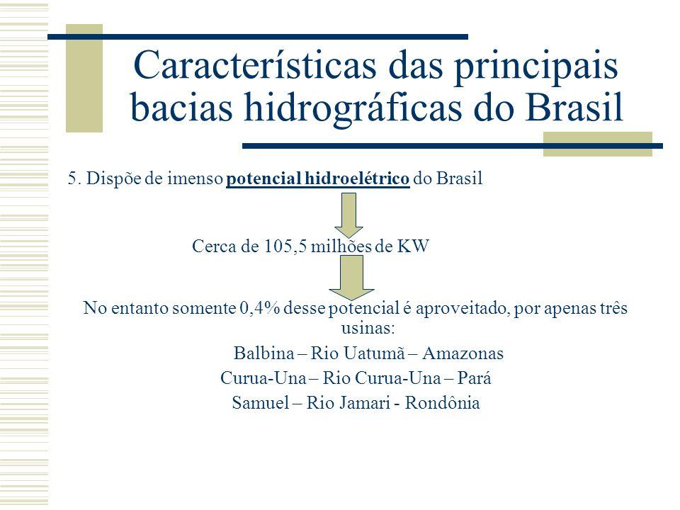 Características das principais bacias hidrográficas do Brasil 5. Dispõe de imenso potencial hidroelétrico do Brasil Cerca de 105,5 milhões de KW No en