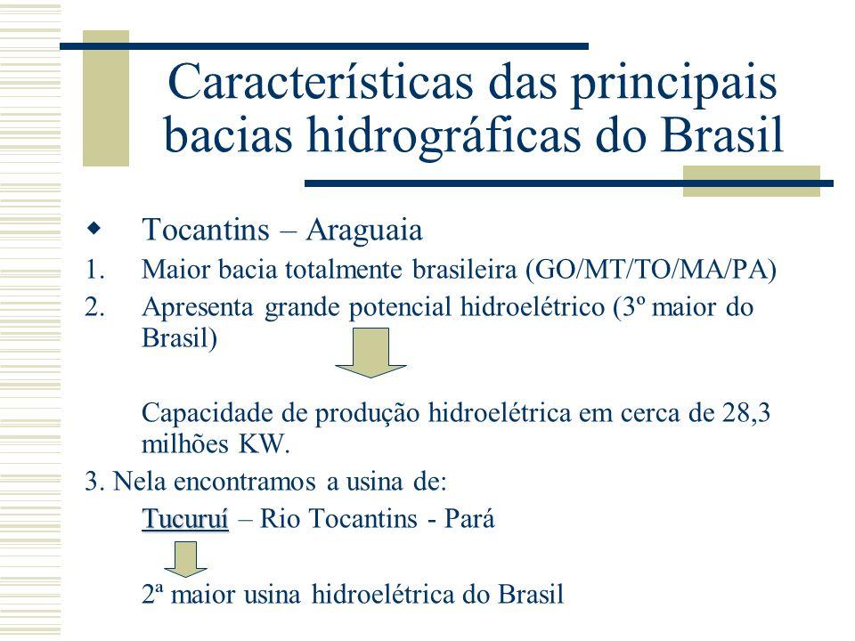 Características das principais bacias hidrográficas do Brasil Tocantins – Araguaia 1.Maior bacia totalmente brasileira (GO/MT/TO/MA/PA) 2.Apresenta gr