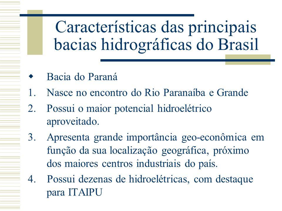 Características das principais bacias hidrográficas do Brasil Bacia do Paraná 1.Nasce no encontro do Rio Paranaíba e Grande 2.Possui o maior potencial