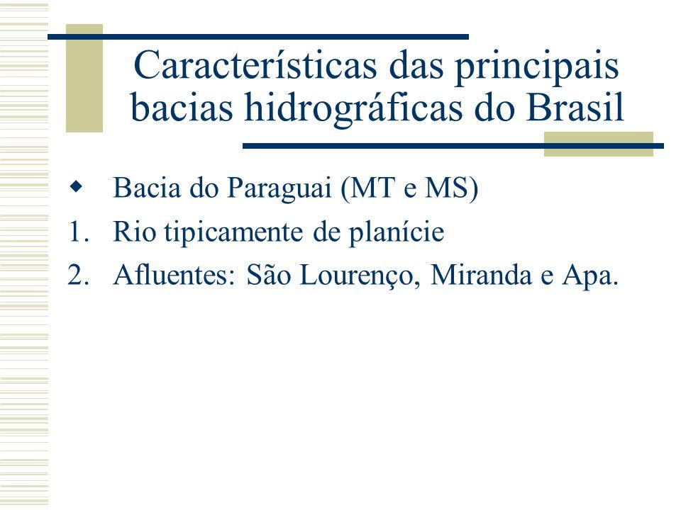 Características das principais bacias hidrográficas do Brasil Bacia do Paraguai (MT e MS) 1.Rio tipicamente de planície 2.Afluentes: São Lourenço, Mir