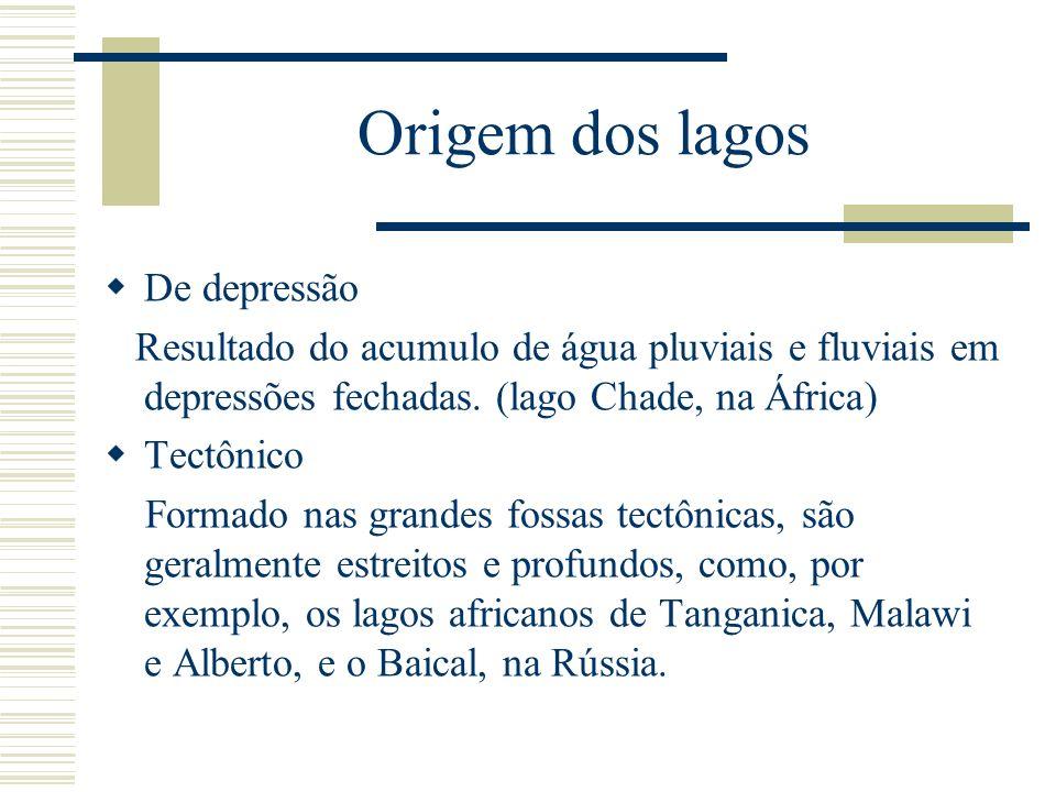 Origem dos lagos De depressão Resultado do acumulo de água pluviais e fluviais em depressões fechadas. (lago Chade, na África) Tectônico Formado nas g