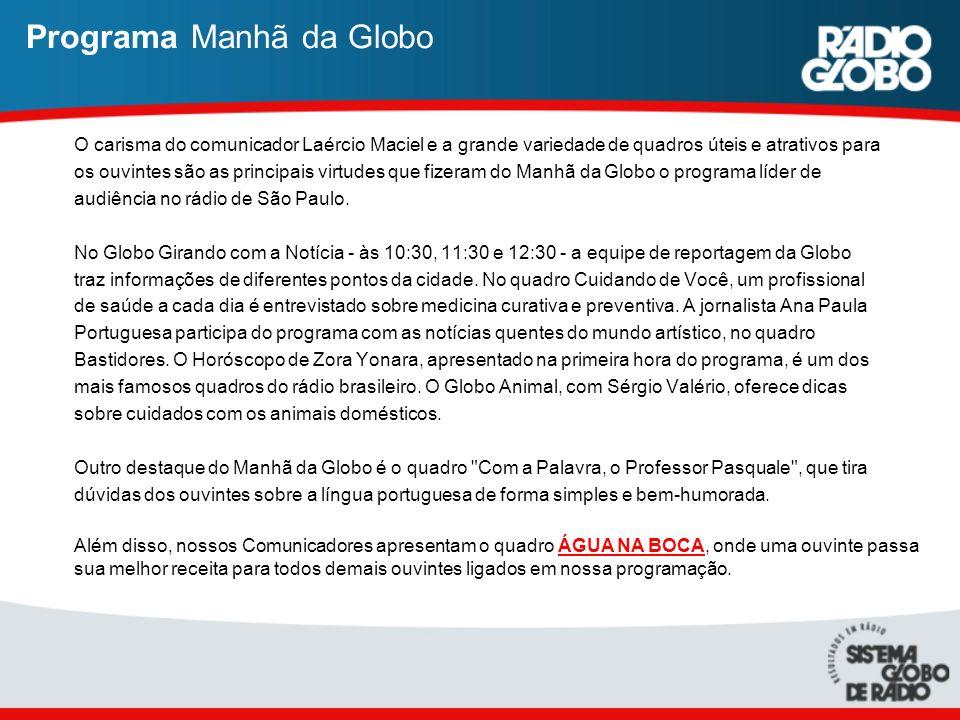 Programa Manhã da Globo O carisma do comunicador Laércio Maciel e a grande variedade de quadros úteis e atrativos para os ouvintes são as principais v