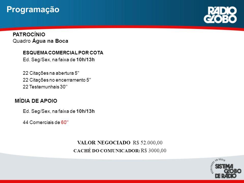 Programação PATROCÍNIO Quadro Água na Boca ESQUEMA COMERCIAL POR COTA Ed. Seg/Sex, na faixa de 10h/13h 22 Citações na abertura 5