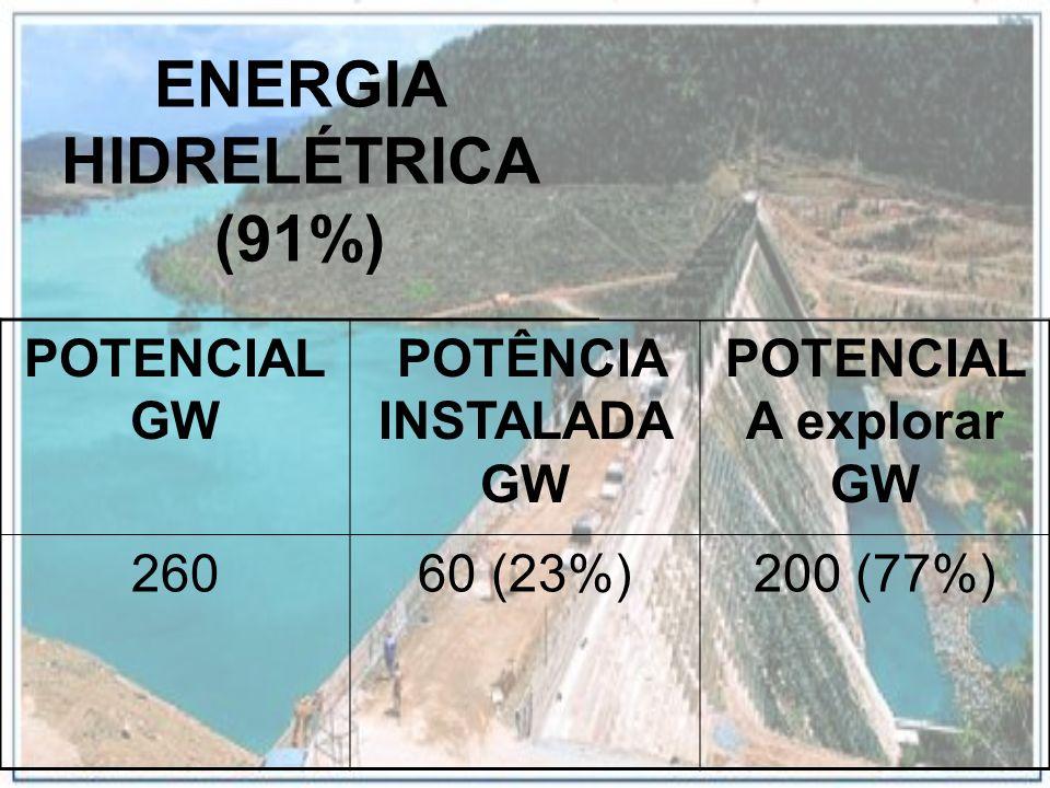 ENERGIA HIDRELÉTRICA (91%) POTENCIAL GW POTÊNCIA INSTALADA GW POTENCIAL A explorar GW 26060 (23%)200 (77%)