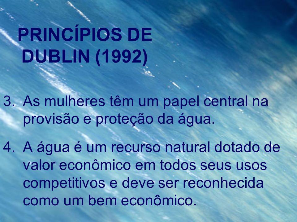 PRINCÍPIOS DE DUBLIN (1992) 3.As mulheres têm um papel central na provisão e proteção da água. 4.A água é um recurso natural dotado de valor econômico