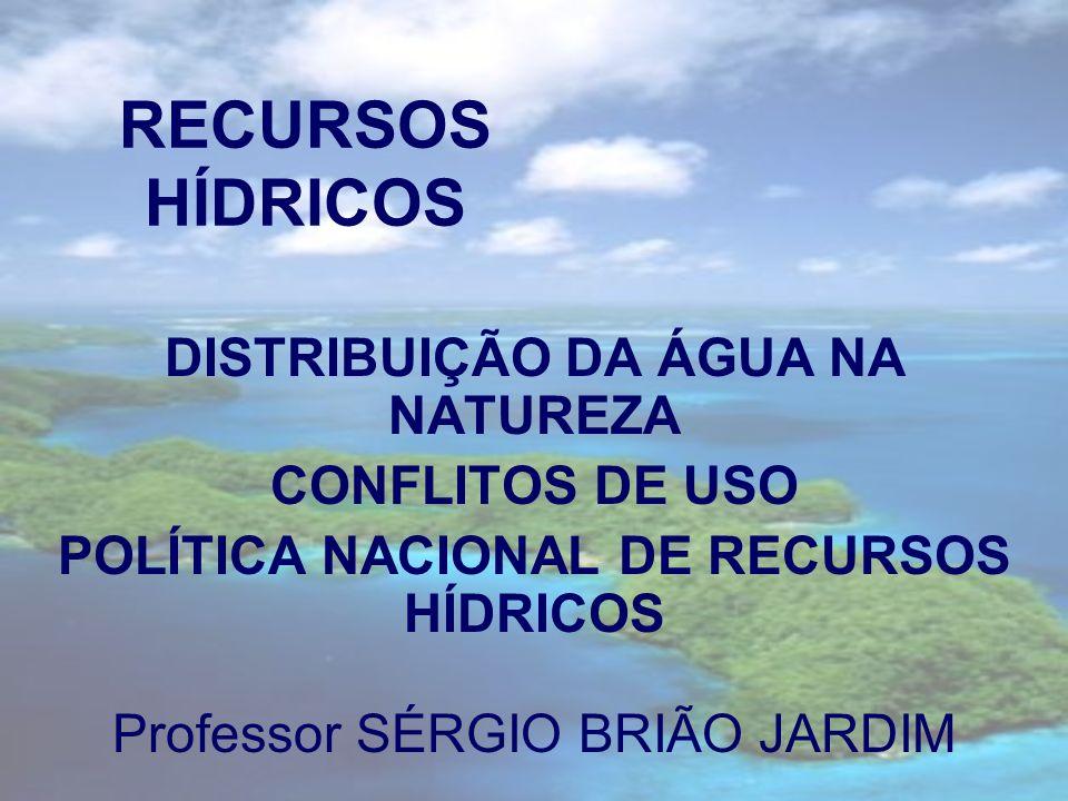 RECURSOS HÍDRICOS DISTRIBUIÇÃO DA ÁGUA NA NATUREZA CONFLITOS DE USO POLÍTICA NACIONAL DE RECURSOS HÍDRICOS Professor SÉRGIO BRIÃO JARDIM