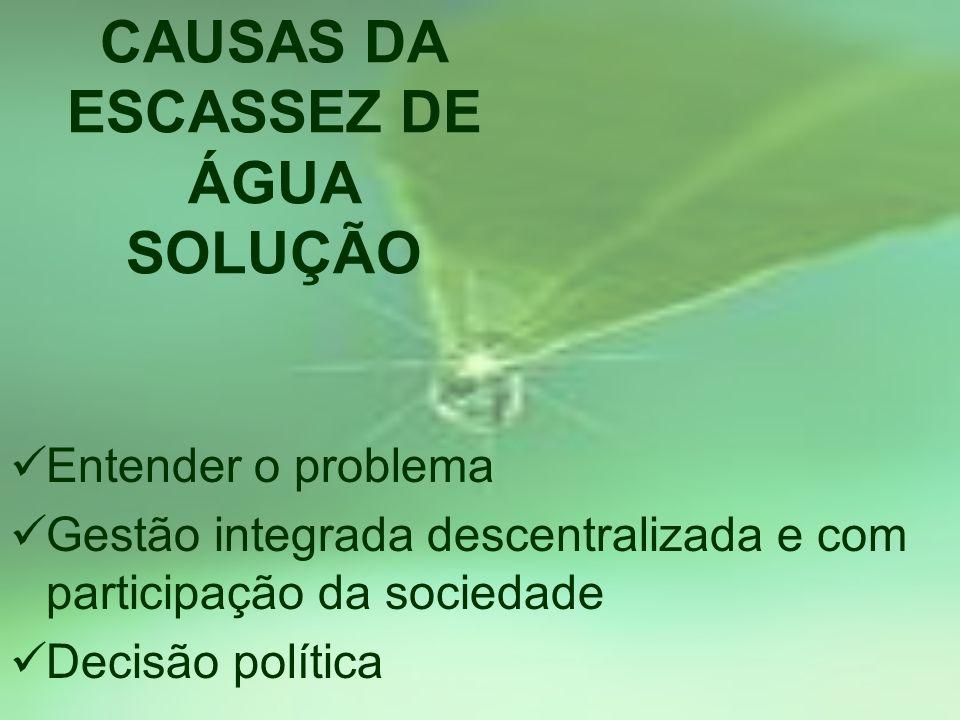 CAUSAS DA ESCASSEZ DE ÁGUA SOLUÇÃO Entender o problema Gestão integrada descentralizada e com participação da sociedade Decisão política