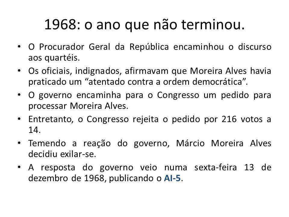 1968: o ano que não terminou. O Procurador Geral da República encaminhou o discurso aos quartéis. Os oficiais, indignados, afirmavam que Moreira Alves