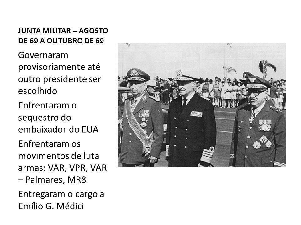 JUNTA MILITAR – AGOSTO DE 69 A OUTUBRO DE 69 Governaram provisoriamente até outro presidente ser escolhido Enfrentaram o sequestro do embaixador do EU