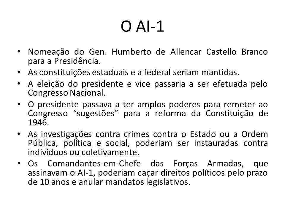O AI-1 Nomeação do Gen. Humberto de Allencar Castello Branco para a Presidência. As constituições estaduais e a federal seriam mantidas. A eleição do