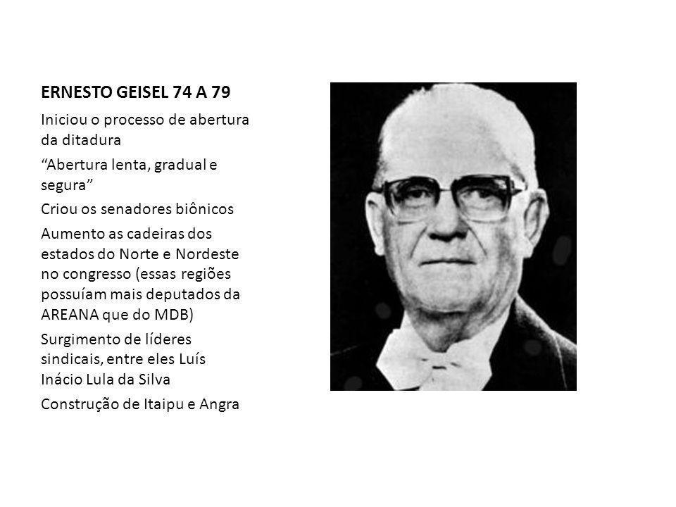 ERNESTO GEISEL 74 A 79 Iniciou o processo de abertura da ditadura Abertura lenta, gradual e segura Criou os senadores biônicos Aumento as cadeiras dos