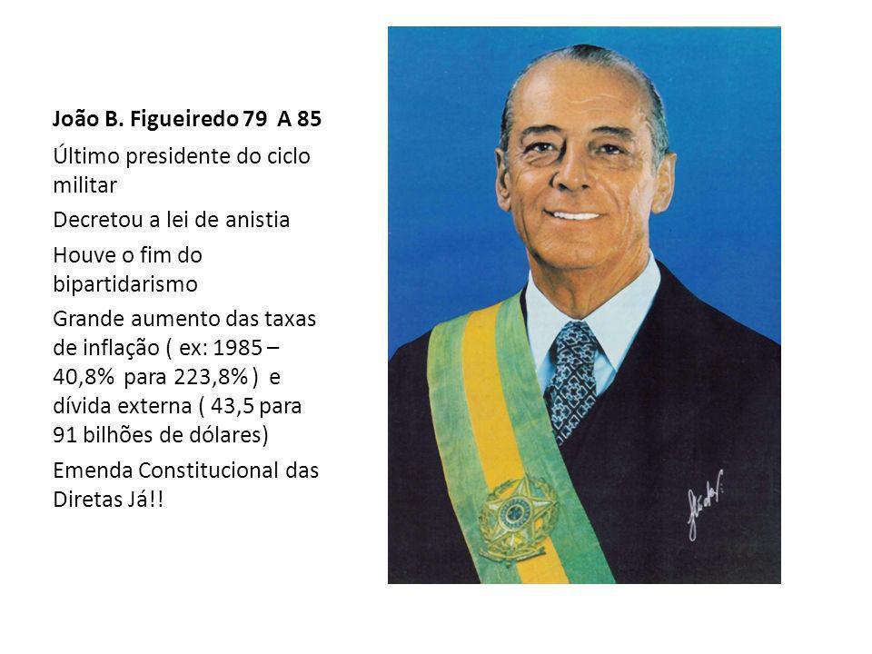 João B. Figueiredo 79 A 85 Último presidente do ciclo militar Decretou a lei de anistia Houve o fim do bipartidarismo Grande aumento das taxas de infl