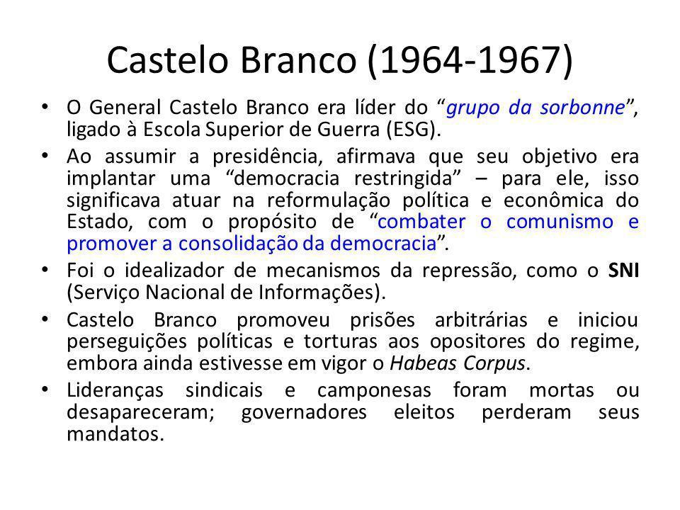Castelo Branco (1964-1967) O General Castelo Branco era líder do grupo da sorbonne, ligado à Escola Superior de Guerra (ESG). Ao assumir a presidência