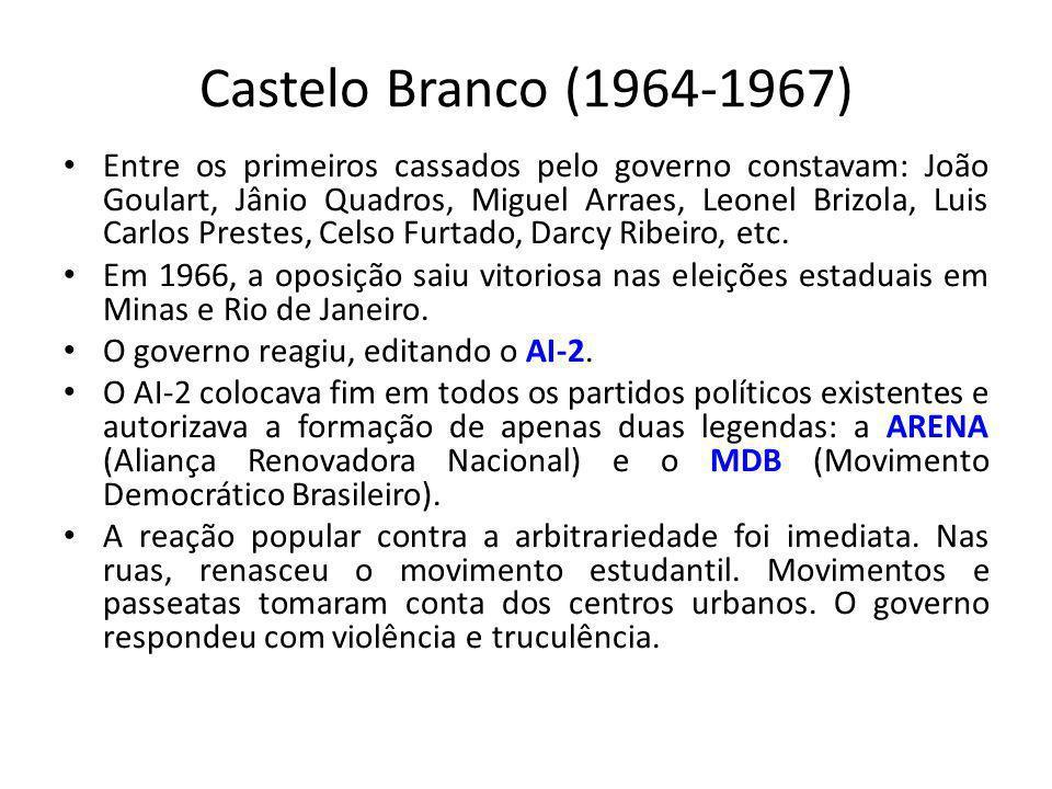 Castelo Branco (1964-1967) Entre os primeiros cassados pelo governo constavam: João Goulart, Jânio Quadros, Miguel Arraes, Leonel Brizola, Luis Carlos