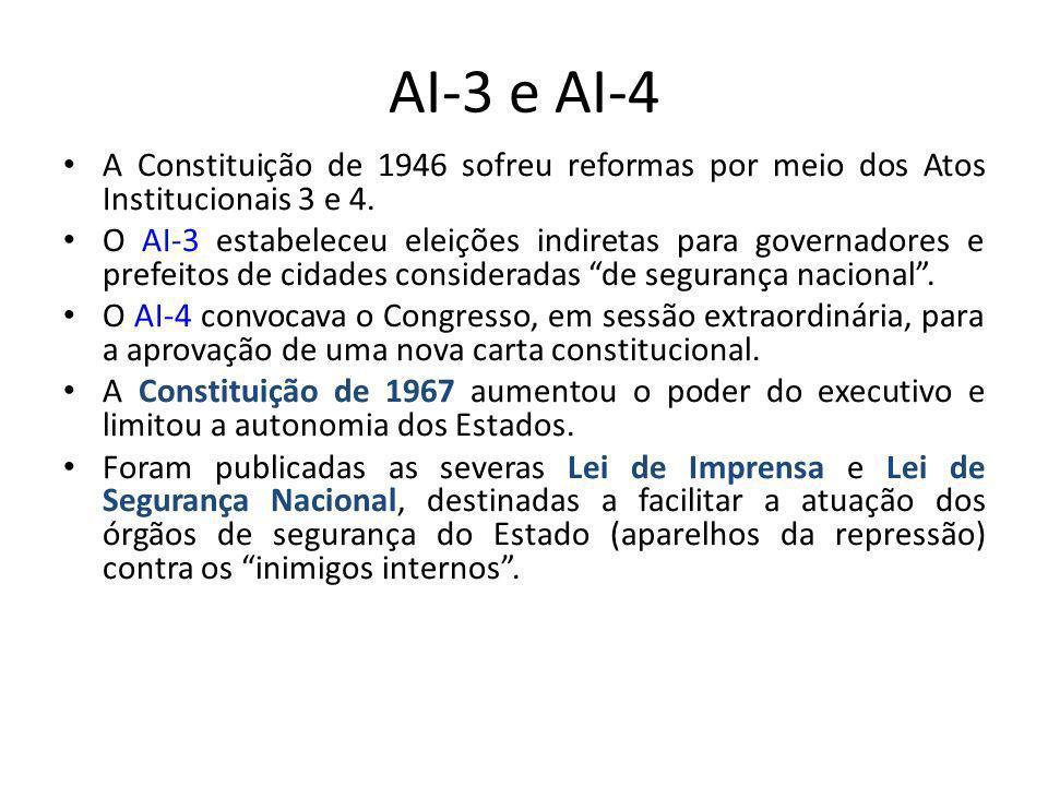 AI-3 e AI-4 A Constituição de 1946 sofreu reformas por meio dos Atos Institucionais 3 e 4. O AI-3 estabeleceu eleições indiretas para governadores e p