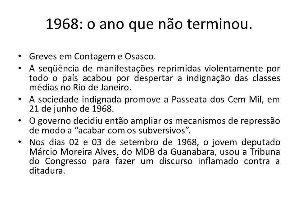1968: o ano que não terminou. Greves em Contagem e Osasco. A seqüência de manifestações reprimidas violentamente por todo o país acabou por despertar