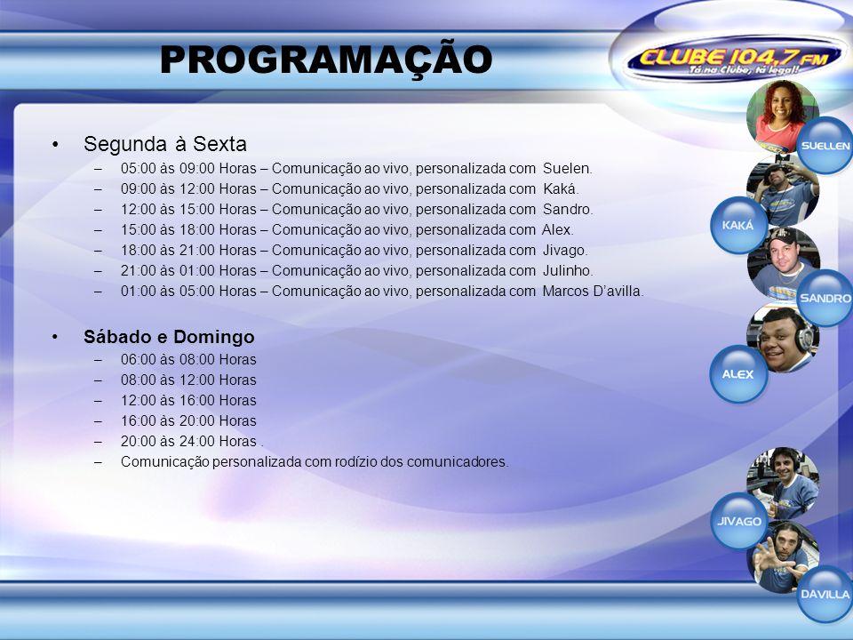 PROGRAMAÇÃO Segunda à Sexta –05:00 às 09:00 Horas – Comunicação ao vivo, personalizada com Suelen. –09:00 às 12:00 Horas – Comunicação ao vivo, person