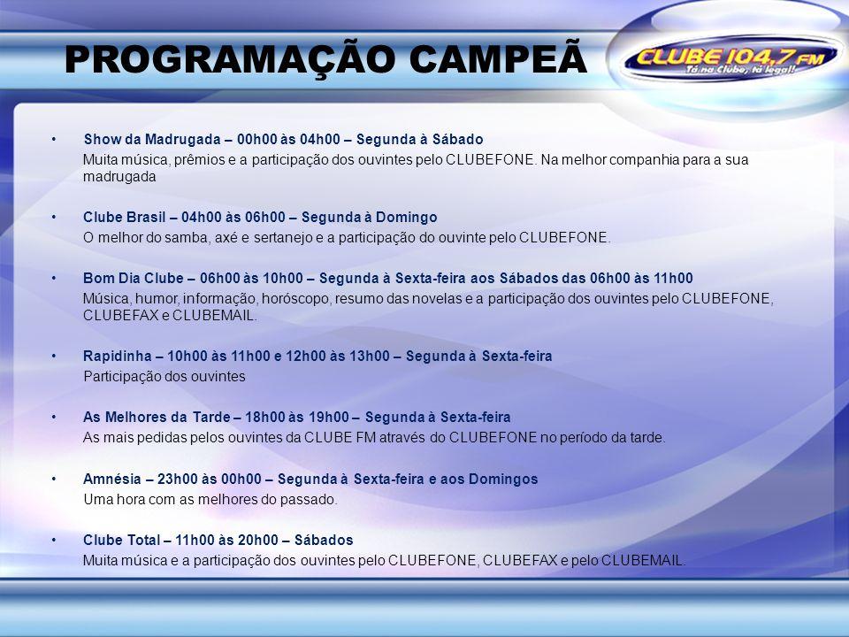 PROGRAMAÇÃO CAMPEÃ Show da Madrugada – 00h00 às 04h00 – Segunda à Sábado Muita música, prêmios e a participação dos ouvintes pelo CLUBEFONE. Na melhor