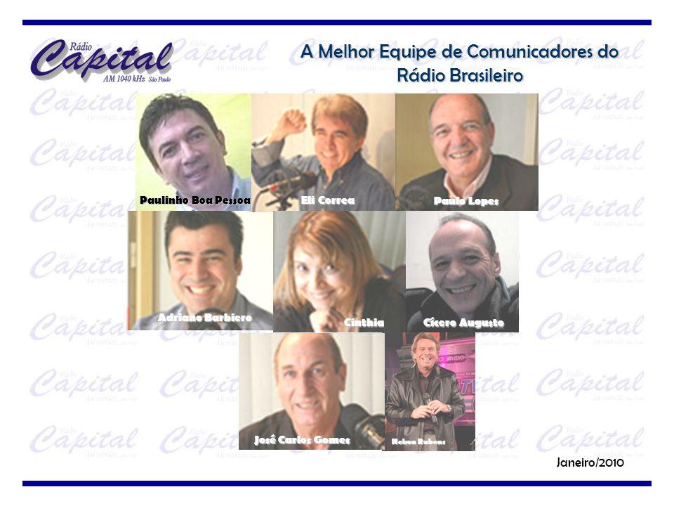 A Melhor Equipe de Comunicadores do Rádio Brasileiro Janeiro/2010 Nelson Rubens Adriano Barbiero Eli Correa Paulo Lopes Cinthia José Carlos Gomes Cíce
